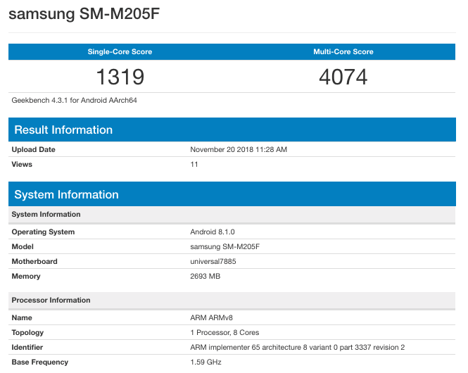 Galaxy M20 appeared in the database Geekbench