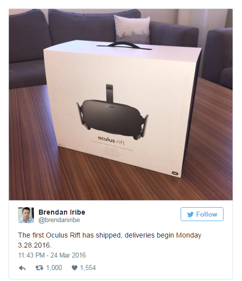 Поставки Oculus Rift стартуют 28 марта
