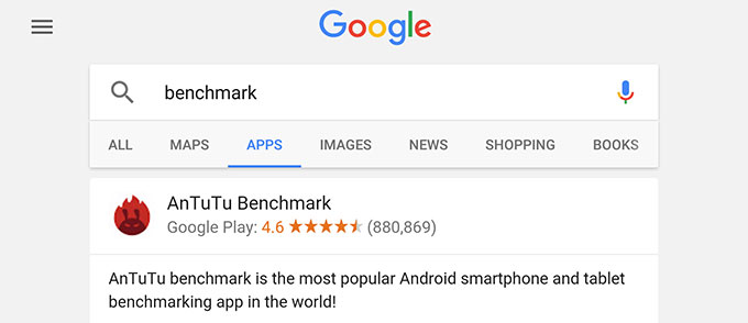 Поиск по приложениям в мобильной версии Google