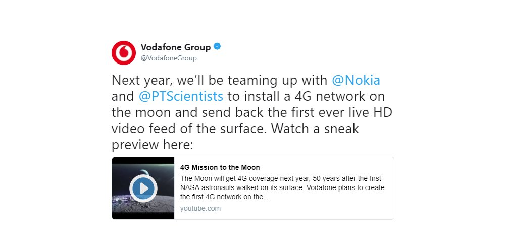 Nokia, Vodafone и Audi планируют создать на Луне сеть 4G