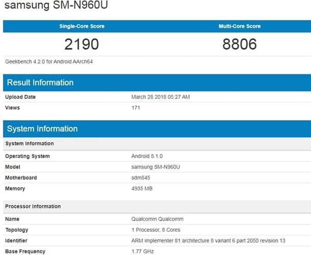 Geekbench «слил» характеристики неанонсированного Galaxy Note 9