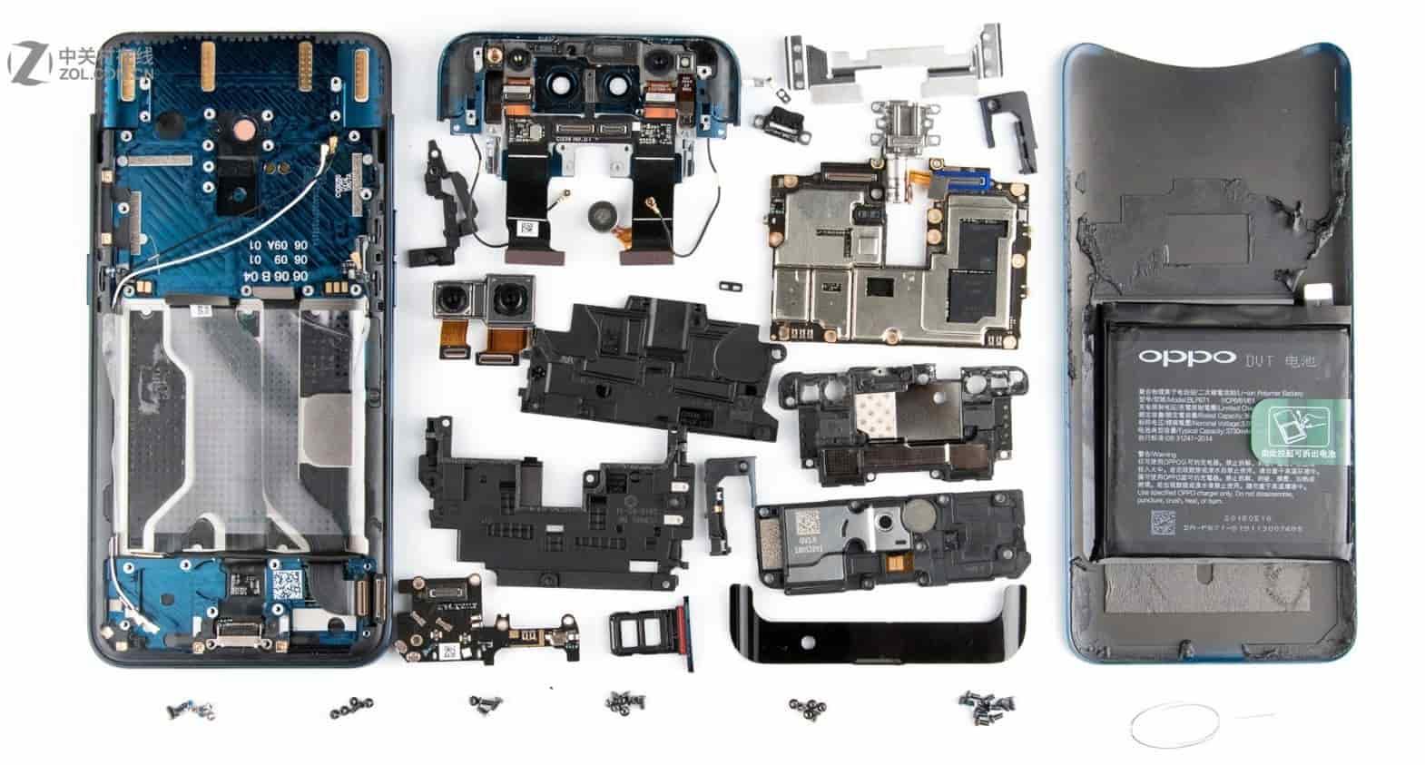 OPPO Find X имеет самое сложное внутреннее устройство и больше всего деталей